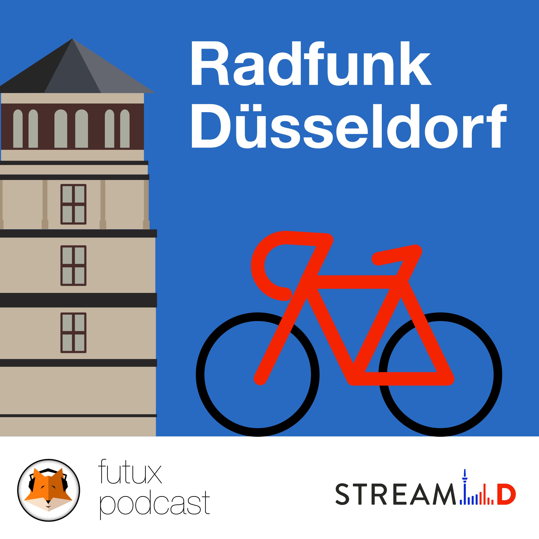 Stilisiertes Rennrad vor dem Schlossturm in Düsseldorf