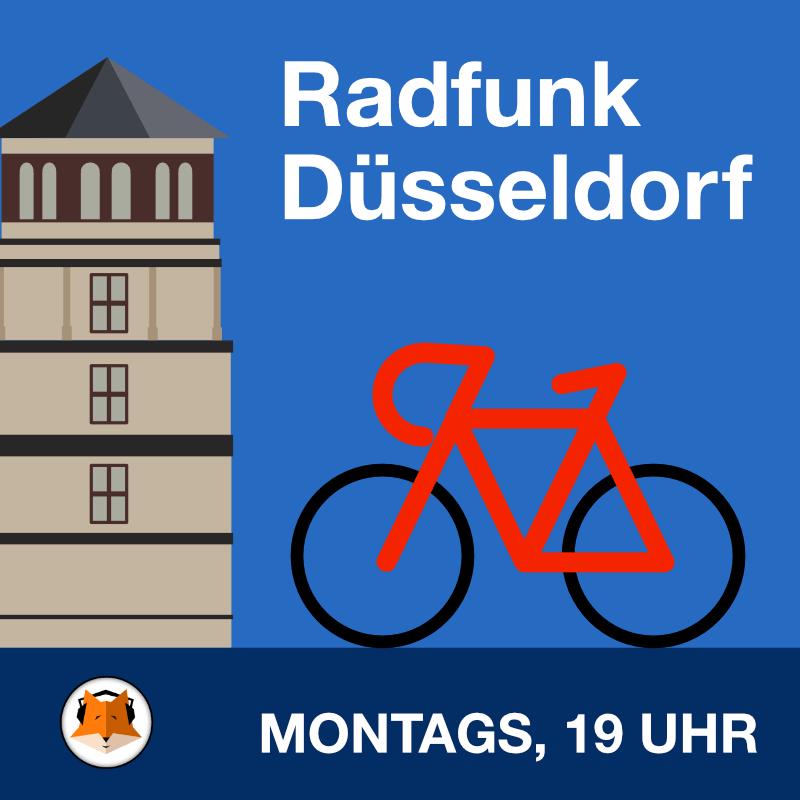 Fahrrad vor dem Schlossturm Düsseldorf (Grafik)