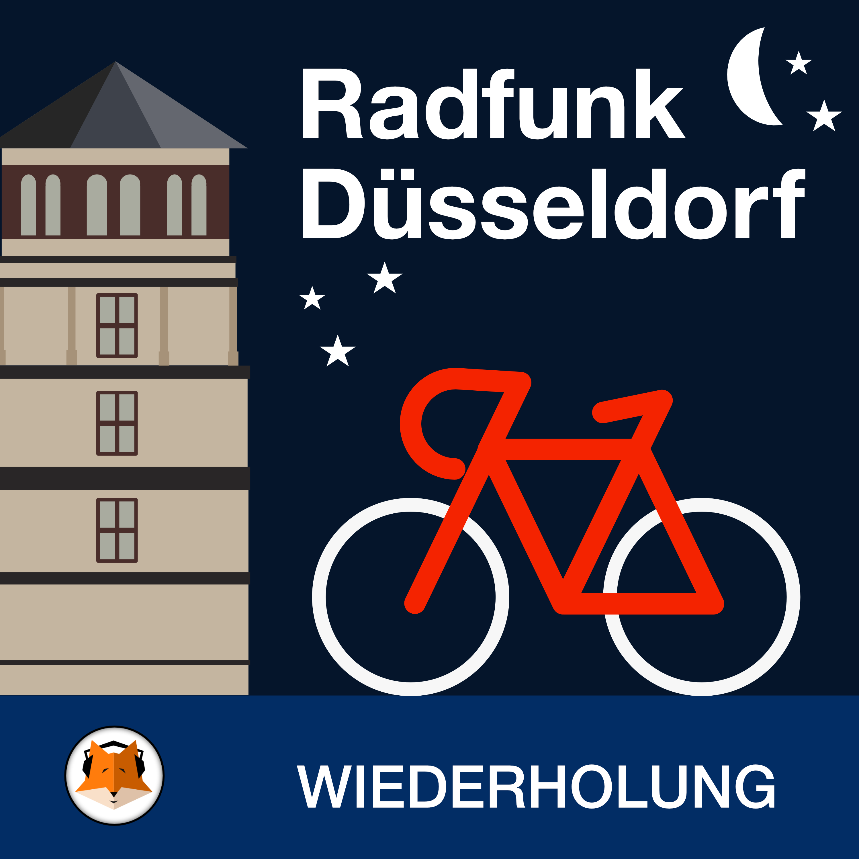 Rad vor Schlossturm und Nachthimmel